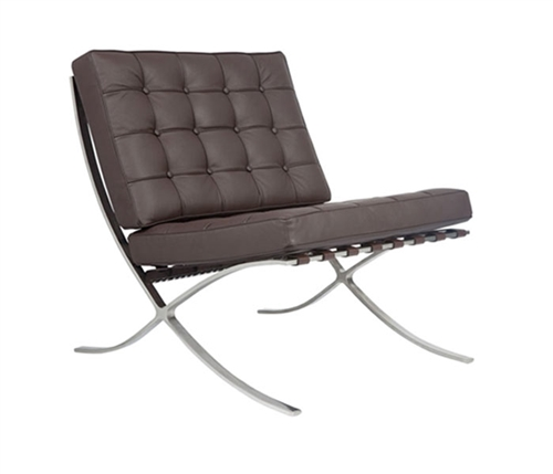 Modern Barcelona Chair in Espresso leather
