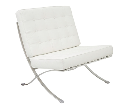Modern Barcelona Chair in White leather