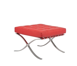 Modern Barcelona Ottoman in Red leather