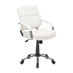 This chair has a leatherette wrapped seat and back cushions with an epoxy coated solid steel arms with leatherette pads. There is a height and tilt adjustment with a an epoxy coated steel rolling base.