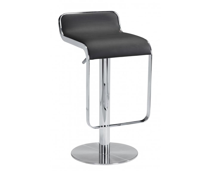 A very stylish and comfortable barstool with leatherette seating mounted on a chrome plated steel frame.