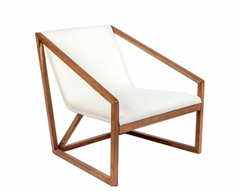 Capua Modern Lounge Chair in Walnut veneer and White leatherette