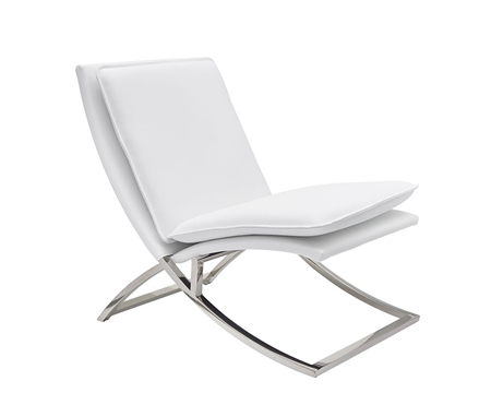 Nocera Modern Lounge Chair in white leather and stainless Steel