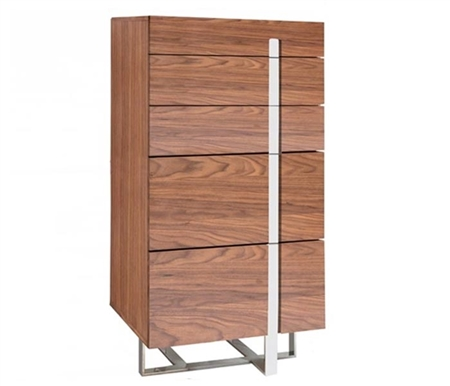 Lugo Modern Drawer Chest in Walnut finish