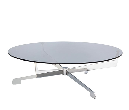 Castel Modern Coffee Table in Stainless Steel with Glass Top