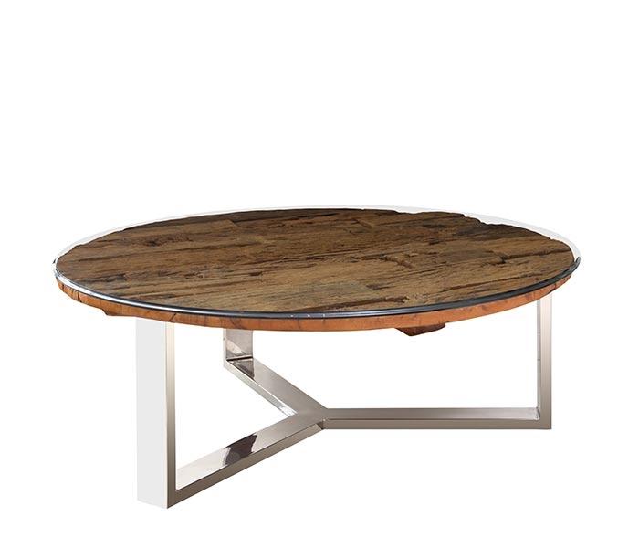 Reclaimed Wood Coffee Table Stainless Steel Legs: Amalfi Reclaimed Teak Wood Round