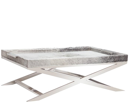 Rimini Grey Cowhide Modern Coffee Table with Stainless Steel Legs