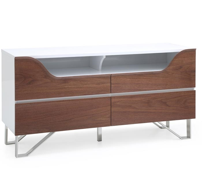 Bari Modern Cabinet in Walnut and White