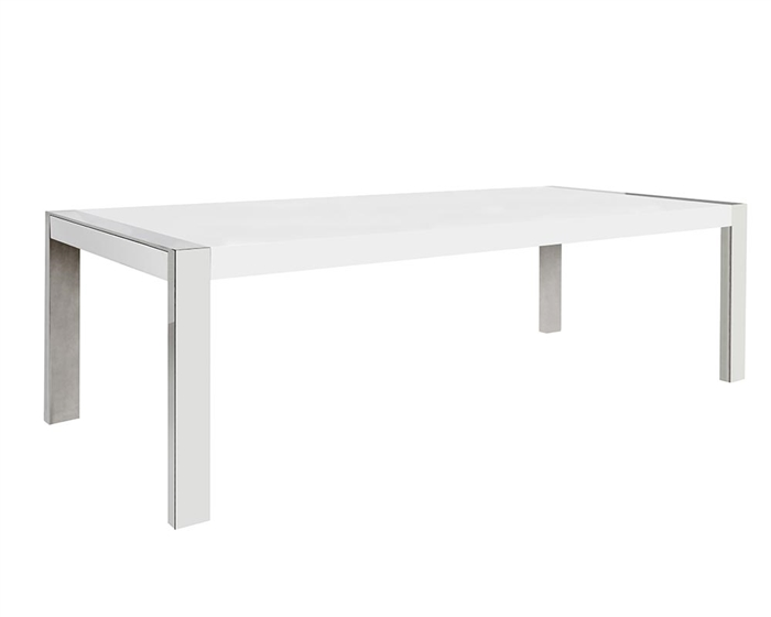 Gorgeous dining table in white or walnut with mirror finish at MH2G
