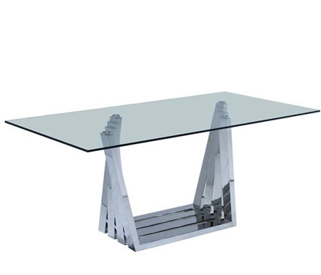 Sorrento Modern Dining Table in Stainless Steel