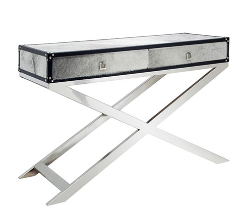 Modern Cowhide Console Table with Stainless Steel Handles