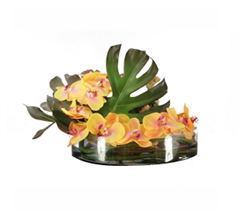 Heritage Bowl with Phylo Leafs, Driftwood and ORANGE Orchids 16""
