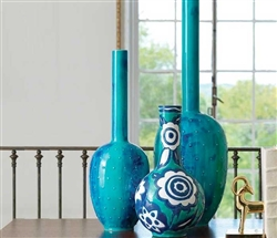 Modern Painted Gourd Vase Blue Large
