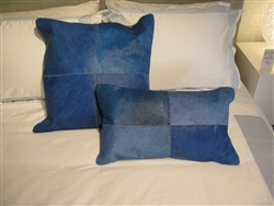 Hide Leather Modern Pillow Blue - Large