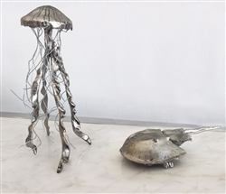 Hand Forged Silver Jelly Fish and Horseshoe Crab - Set of 2