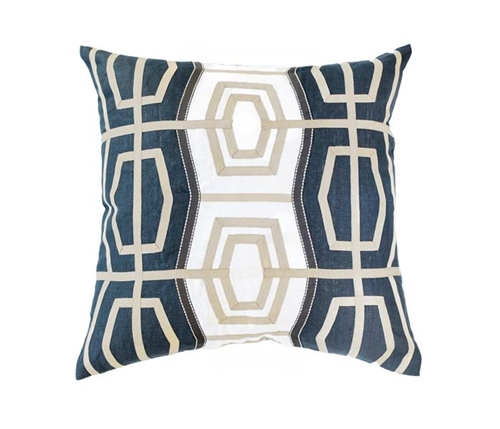 "Rattan Navy Pillow 18"" x 18"""