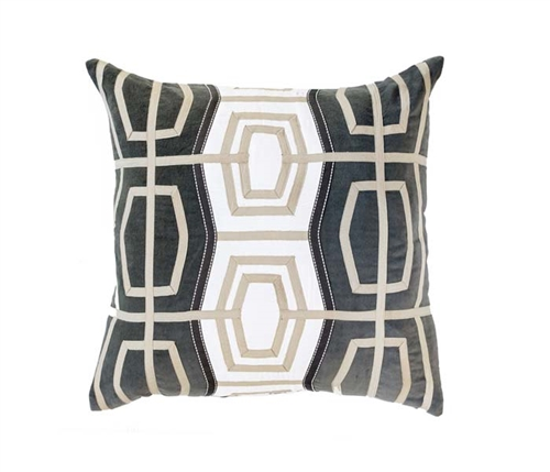 "Rattan Dark Grey  Pillow 18"" x 18"""