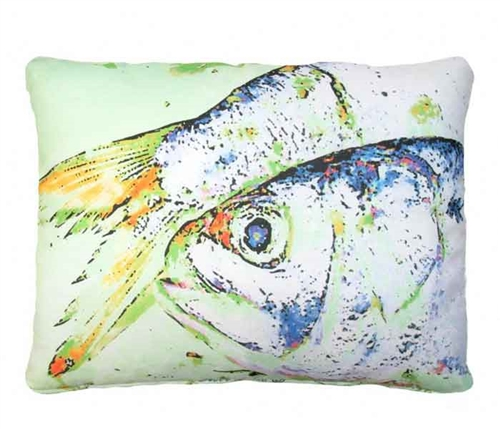 "Light- green and Blue Fish Modern Pillow 19"" x 24"""