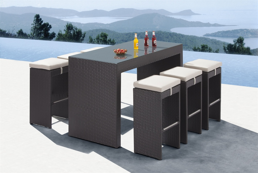 beautiful high outdoor bar table and six chairs will compliment any outdoor  setting - Mh2g - Outdoor Furniture - Palma Dining Set