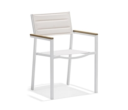 KD Modern Patio Dining Armchair White with Teak accent available at Modern Home 2 Go