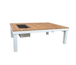 Polo Modern White Aluminum and Teak Outdoor Coffee Table with built in ice bucket.