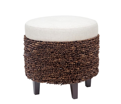 Palm Modern Ottoman made from Abaca with linen