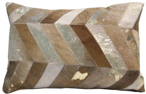 Chevron Modern Cowhide Pillow in Sand and Gold