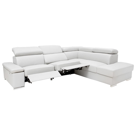 Elysee Modern Sectional in Light Grey Leather Right Facing Chaise with Double Recliner
