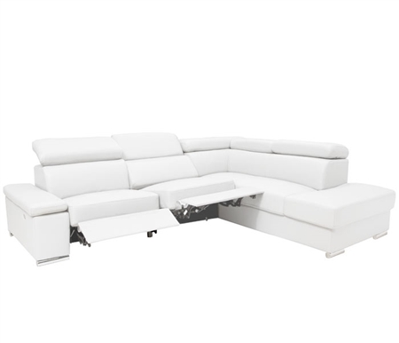 Elysee Modern Sectional in White Leather Right Facing Chaise with Double Recliner