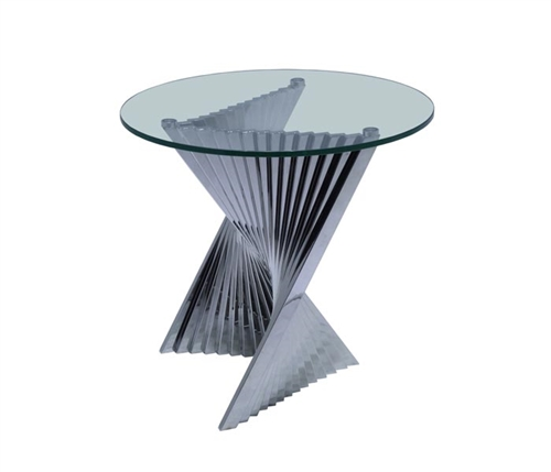 Positano Modern Round Side Table with tempered glass top and stainless steel legs