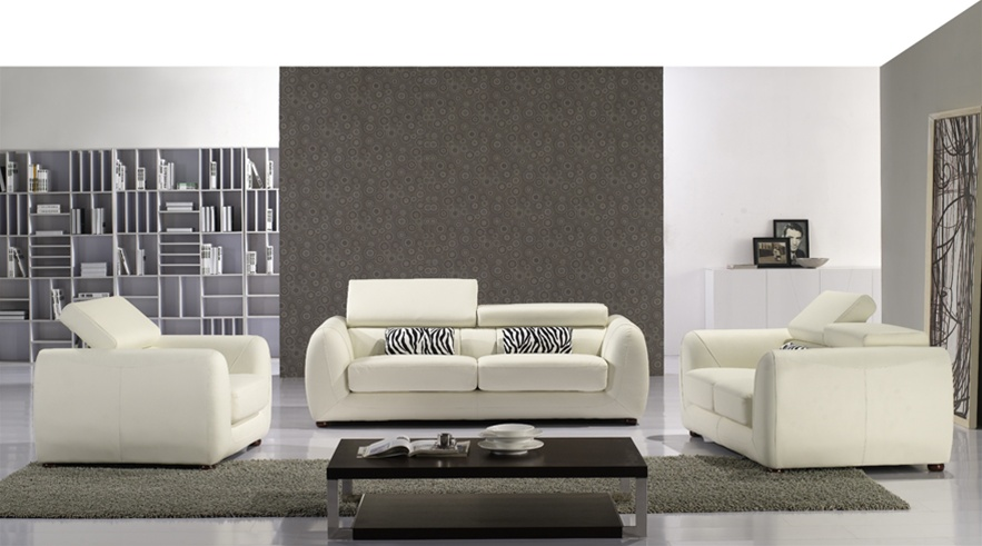 Beautiful Gorgeous Casalli Off White Italian Leather Sofa, Loveseat And Chair Package