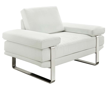 Lizzano Modern Sofa Chair in White Leather