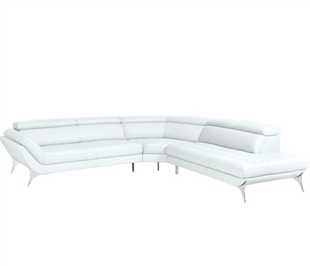 Napoli Modern Right Facing Sectional in White Leather