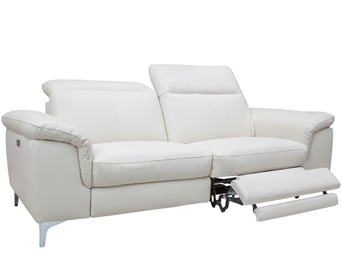 Masino Modern Sofa in Off-White Leather With two Recliner