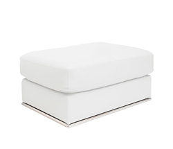Vicenza Modern Ottoman in White Leather