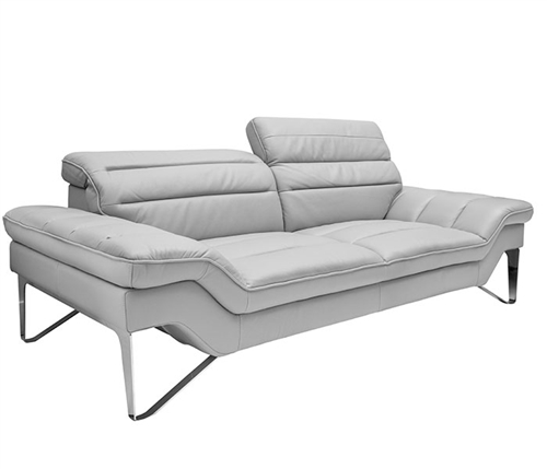 Milano Modern Sofa Set in Grey Leather