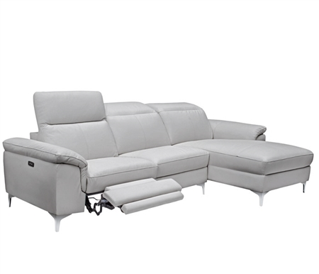 Masino Modern Sectional in Grey Leather Right Facing Chaise Double Recliner
