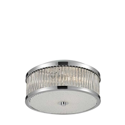 This sleek drum shaped design has glass rods that diffuse light into a glistering array. The characteristics of the textured glass diffuser and Polished Chrome finish enhance the dazzling light array to invigorate any decor.