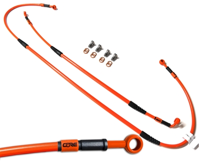 Mx Core Moto front and rear brake line kit fits KTM 125 EXC | 200 EXC |  200 MXC | 250 EXC | 250 MXC | 300 EXC | 300 MXC | 380 EXC | 380 MXC | 400 EXC | 400 MXC | 520 EXC | 520 MXC 2000-2003 ktm orange