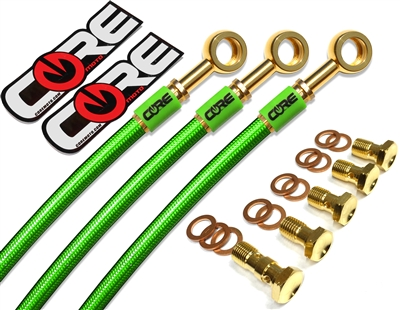 Kawasaki ZX6R / 636 non ABS 2013-2015 Front and rear brake line kit Translucent Green lines 24k gold plated kit