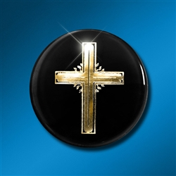 Laptop/Technology Shield: Cross Gold on Black