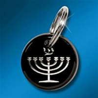 Key Ring: Expressions of Faith - Menorah Silver on Black