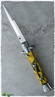 "AB Italian Stiletto 9"" Bayonet Yellow Swirl (23CM)"