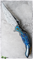 Ron Best Phase 3 Zirc Scales Moku-Ti & Pearl Inlays with Damasteel Blade