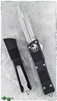 Microtech Combat Troodon D/A OTF D/E 142-11 Stonwash Serrated Blade Black Handle Silver Hardware (as shown bra)