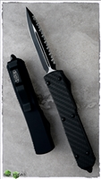 Microtech Ultratech D/A OTF D/E 122-3CF Carbon Top Full Serrated Black Blade Black Handle