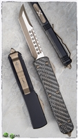 Microtech Ultratech D/A OTF Hell Hound Tanto Blade Bronzed w/ Carbon Fiber Handle Top
