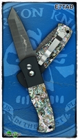 Protech Emerson CQC7 Auto E7TAB Tanto Point Damascus Abalone Inlays Black Handle