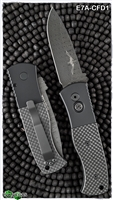 Protech Emerson CQC7 Auto E7A-CFD1 Spear Point Damascus 3D Carbon Fiber Inlay Button Handle Blackout Hardware