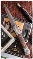 Protech Large Don Auto Ultimate Custom Damascus / Pearl